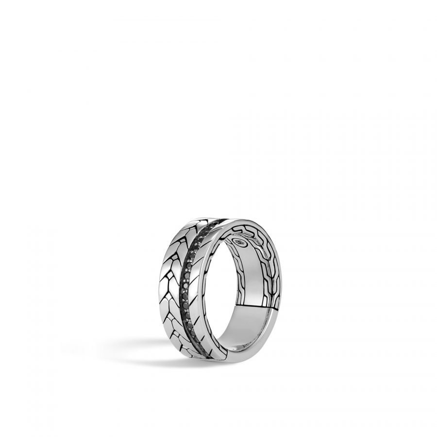 Modern Chain 9MM Band Ring in Silver with Black Spinel - Size 10 2