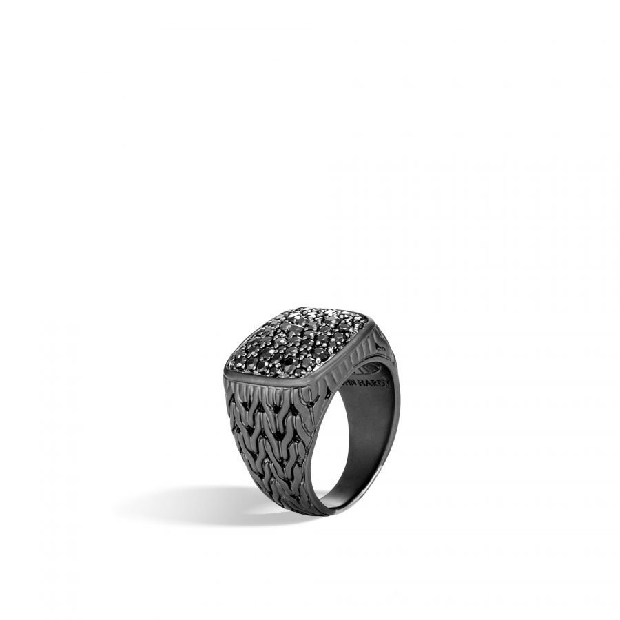 Classic Chain Signet Ring in Blacked Silver with Treated Black Sapphire - Size 11 2