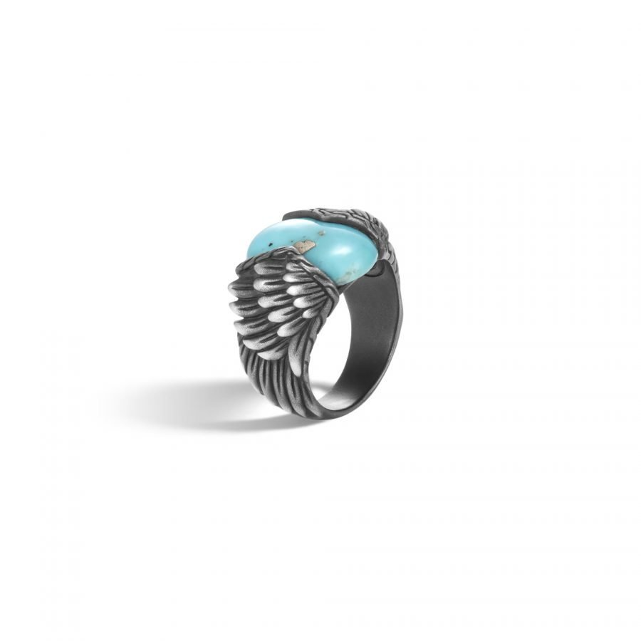 Legends Eagle Ring in Silver with Turquoise & Pyrite 2