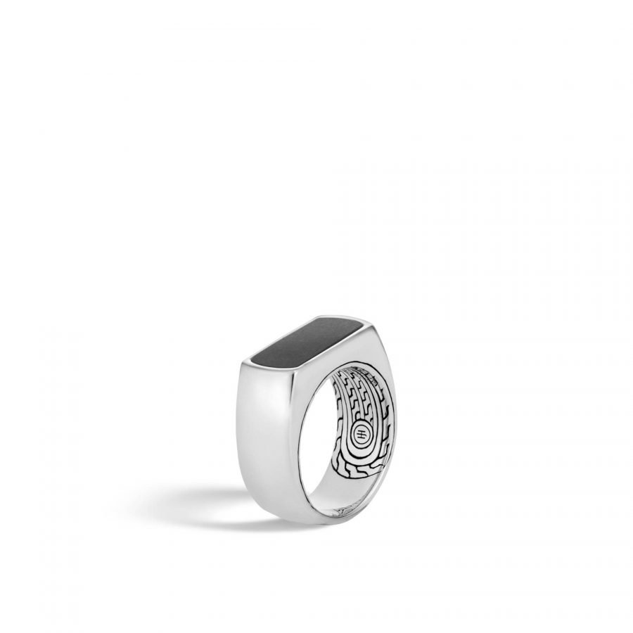 Classic Chain 9.5MM Band Ring in Silver with Black Onyx - Size 10 2