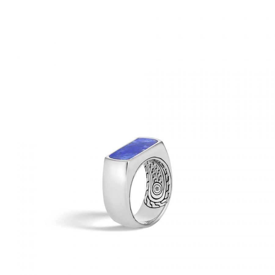 Classic Chain 9.5MM Band Ring in Silver with Lapis Lazuli - Size 10 2