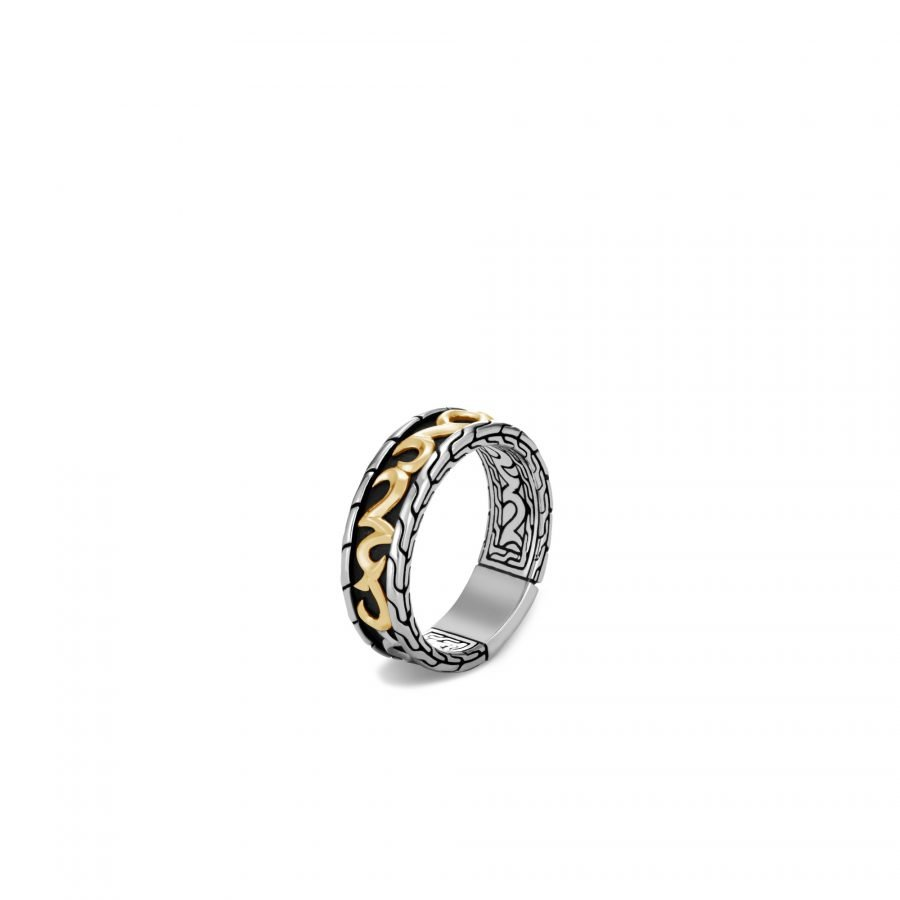 Classic Chain Keris Dagger 7MM Band Ring in Silver & 18K Gold - Size 11 2