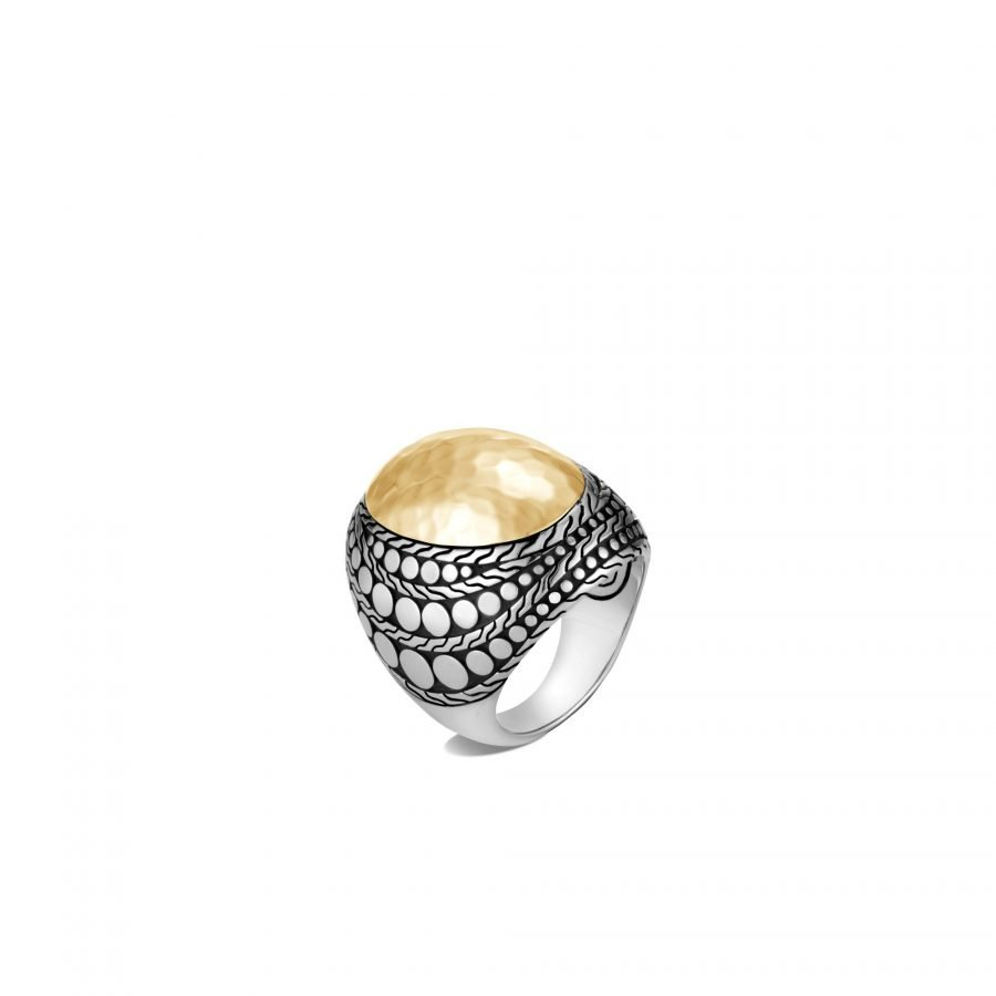 Dot Dome Ring in Silver and Hammered 18K Gold - Size 7 2