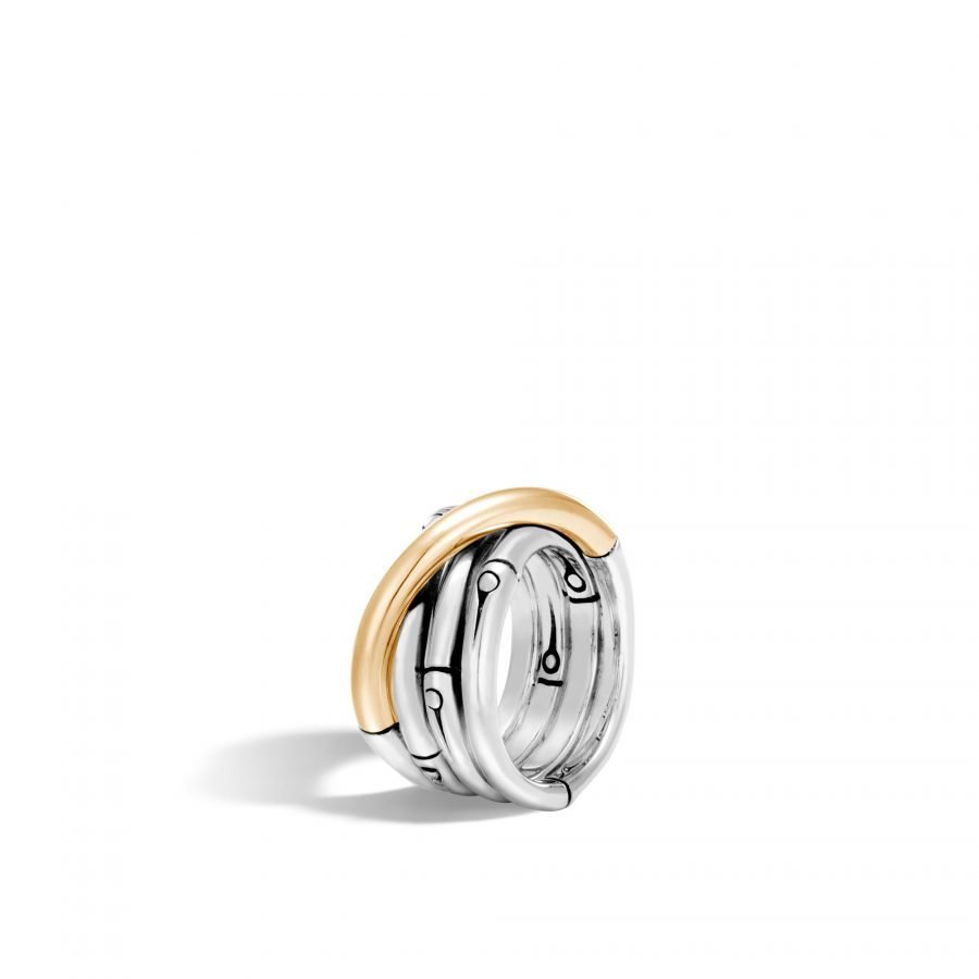 Bamboo 14MM Band Ring in Silver and 18K Gold 2