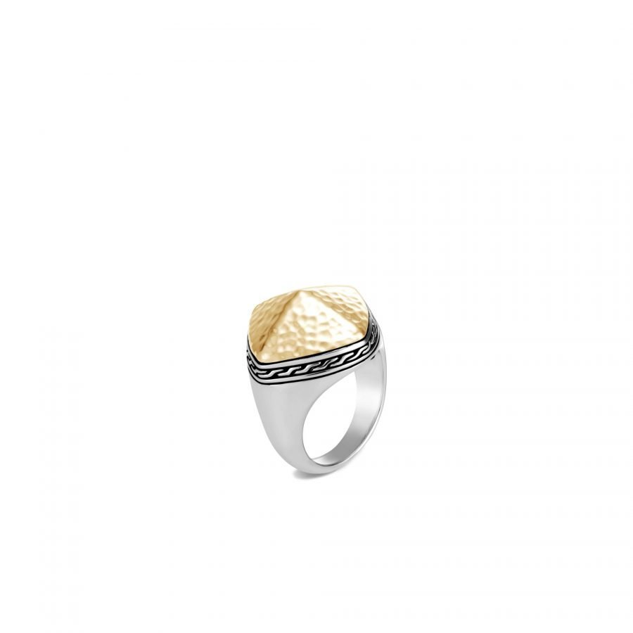 Classic Chain Sugarloaf Ring in Silver & Hammered 18K Gold - Size 7 2