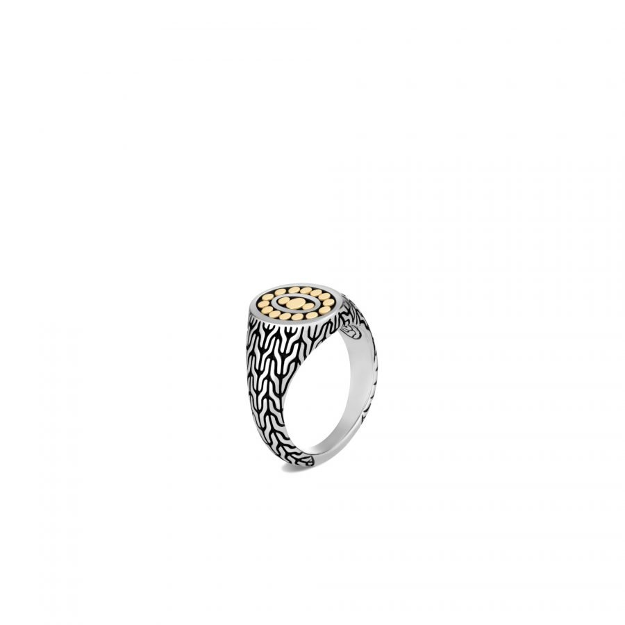 Classic Chain Signet Ring in 18K Gold and Silver - Size 6 2