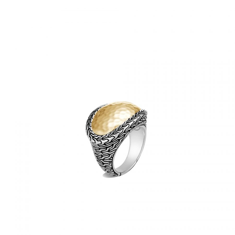Classic Chain Ring in Silver and Hammered 18K Gold - Size 8 2