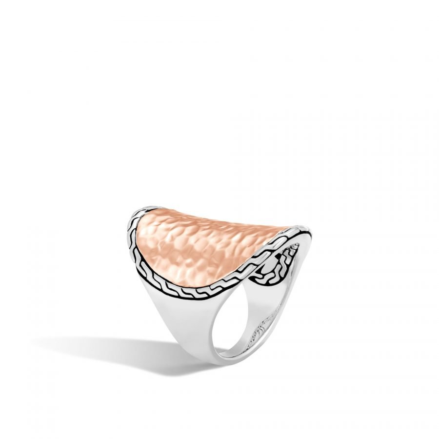 Classic Chain Ring in Silver & Hammered 18K Rose Gold - Size 7 2