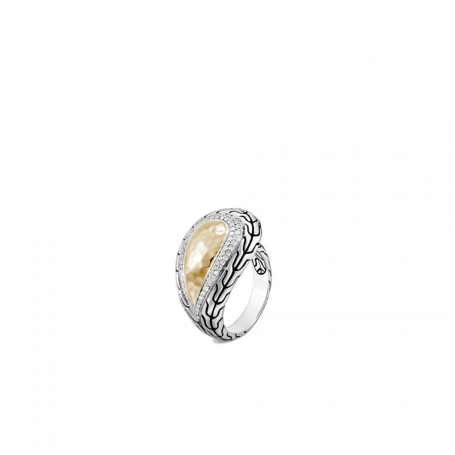 Classic Chain Ring in Silver and Hammered 18K Gold with White Diamonds - Size 7 2