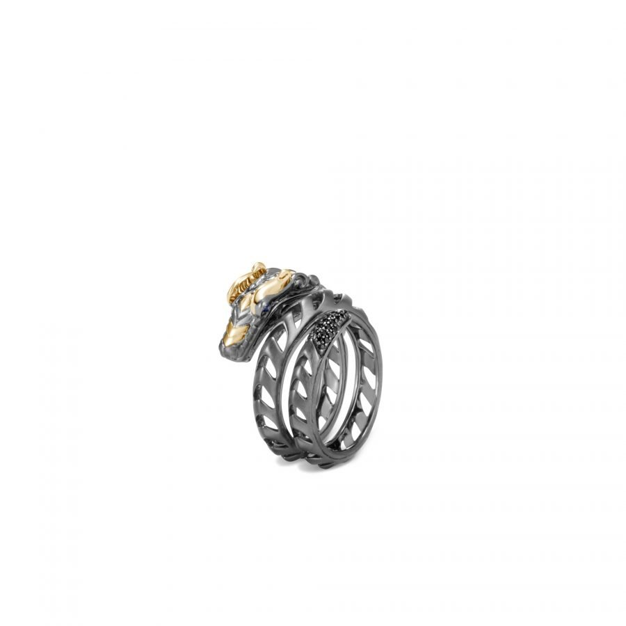 Legends Naga Coil Ring in Blackened Silver & 18K Gold with Black Spinel & Blue Sapphire Eyes - Size 7 2