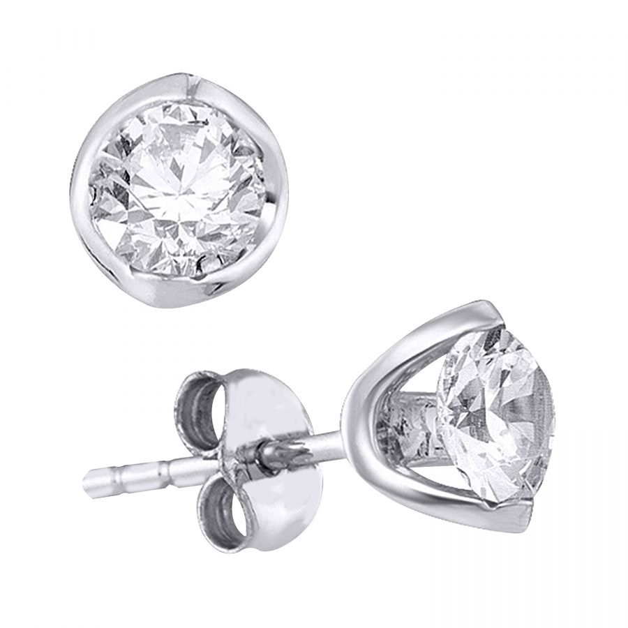 Earrings - Solitaire 0.33 Ctw diamonds in 14K White Gold 2
