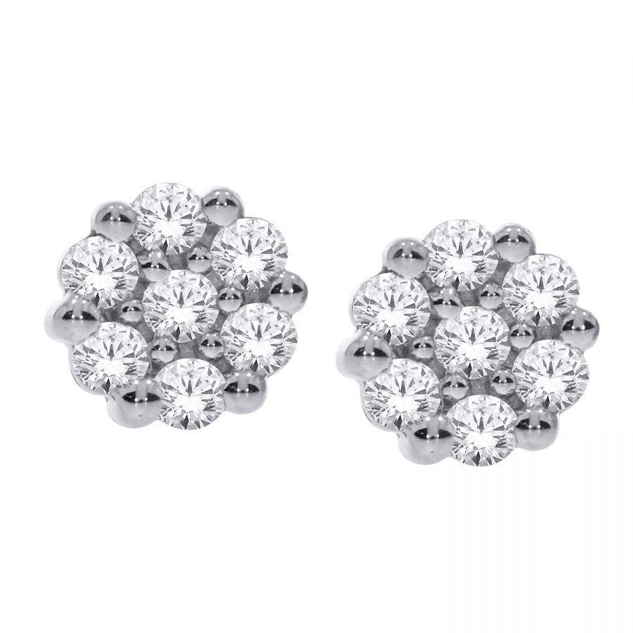 Earrings - Flower 1.00 ctw diamonds in 14K White Gold 2