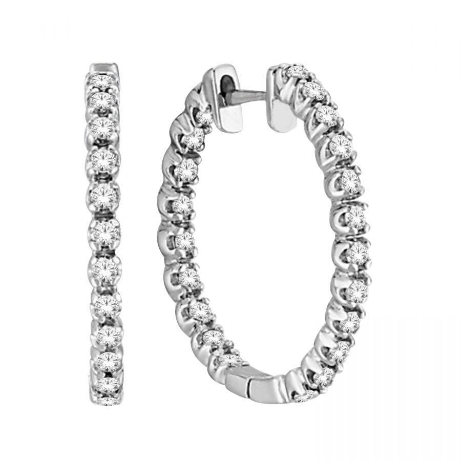 Earrings Hoop - 1.00 ctw White Diamond in 14K White Gold 2