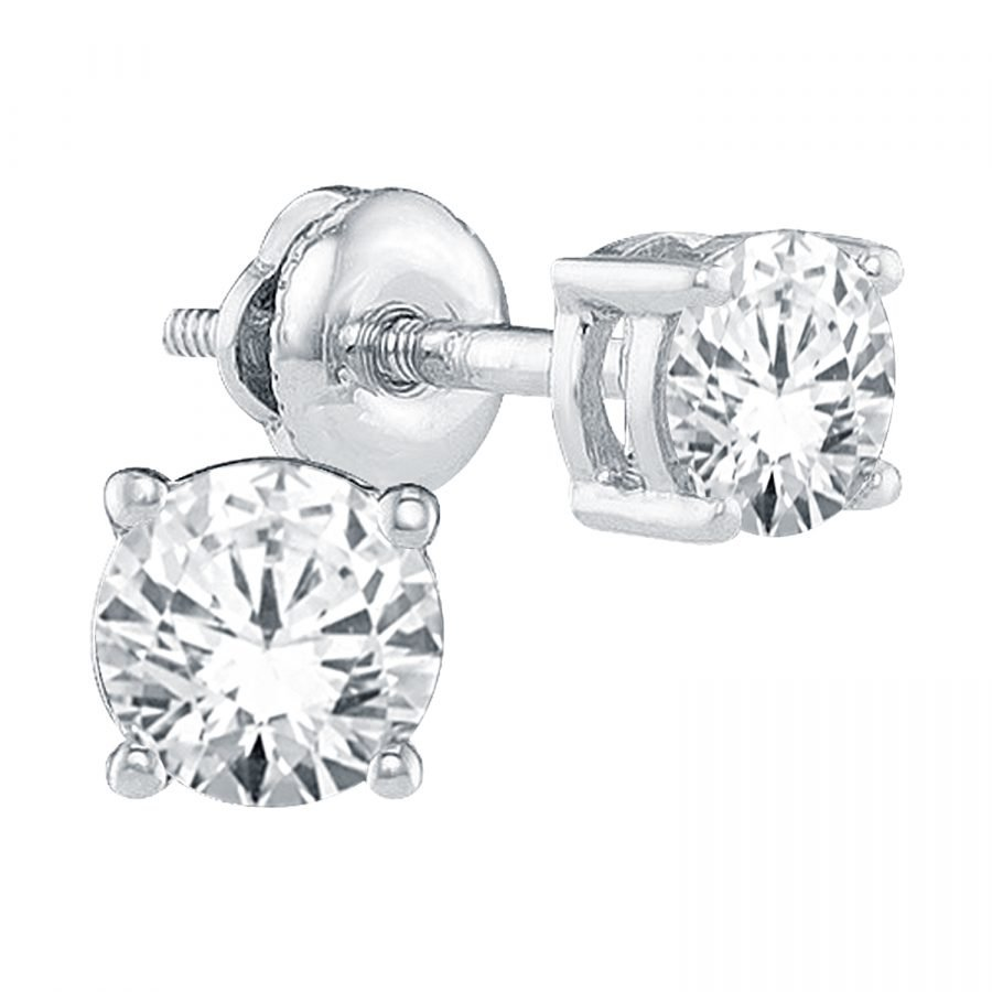 Earrings - Solitaire 4-Prong Setting 0.75 ctw diamonds in 14K White Gold 2