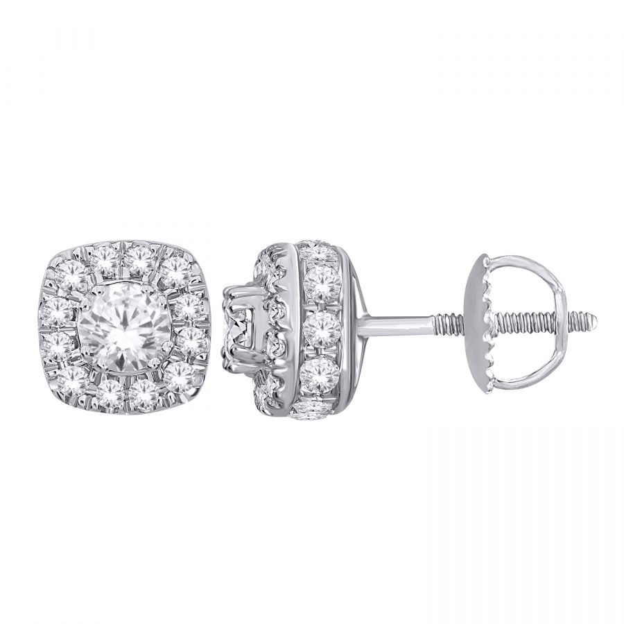 Earrings - Halo Square 1.00 ctw diamonds in 14K White Gold 2