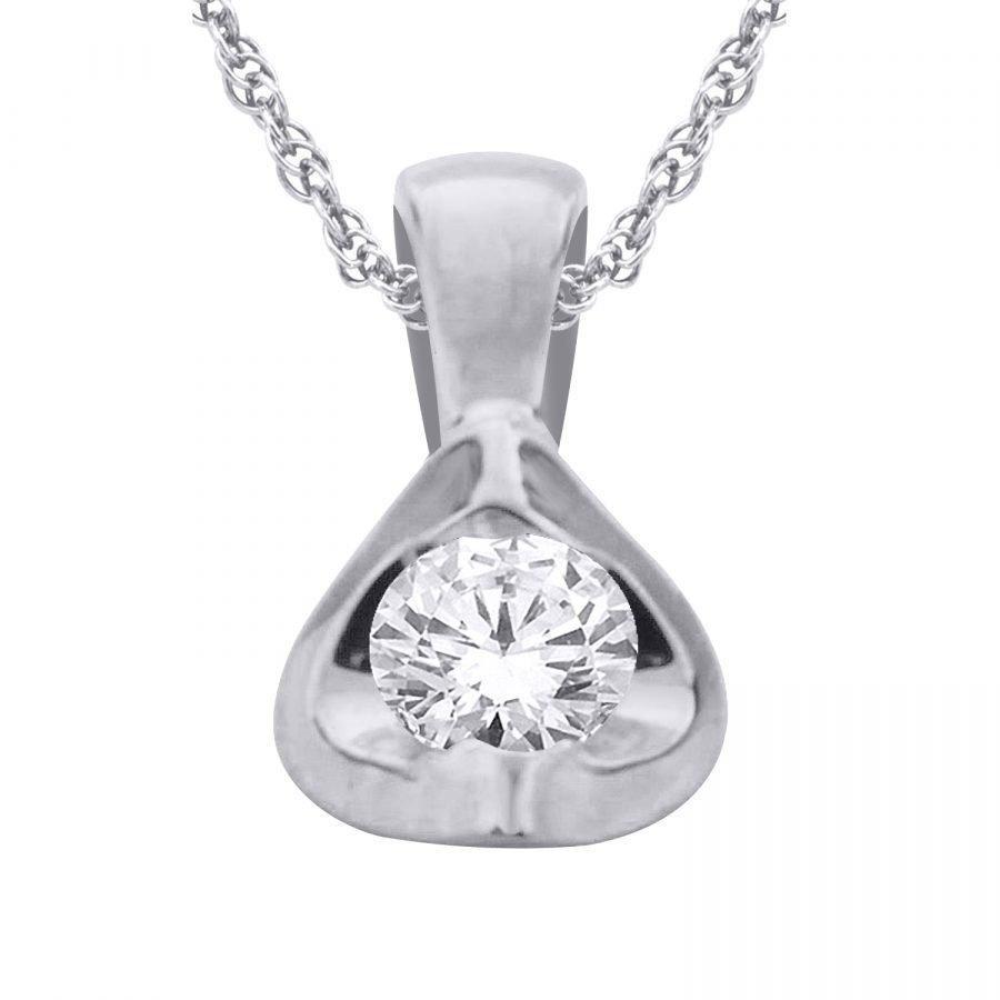 Pendant - Solitaire 0.33 Ctw diamond in 14K White Gold 2