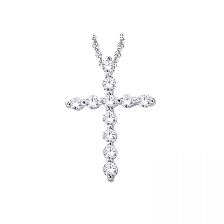 Pendant - Cross 0.25 Ctw diamonds in 14K White Gold 2