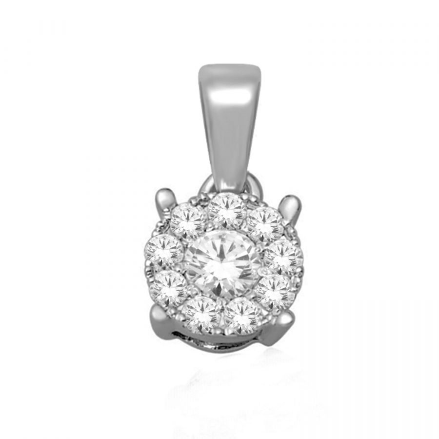 Pendant - Halo Round 0.75 ctw diamonds in 14K White Gold 2
