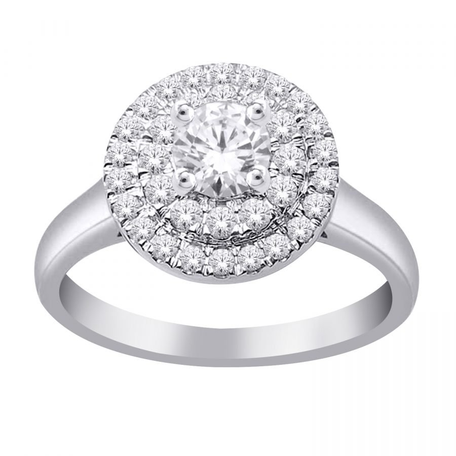 Ring - Halo Double 1.00 ctw diamonds in 14K Gold 2