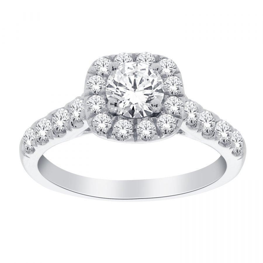 Ring - Halo Square 1.00 ctw diamonds in 14K White Gold 2