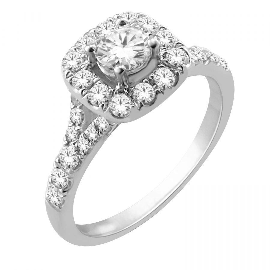 Ring - Halo Square 1.00 ctw diamonds Split Shank in 14K White Gold 2