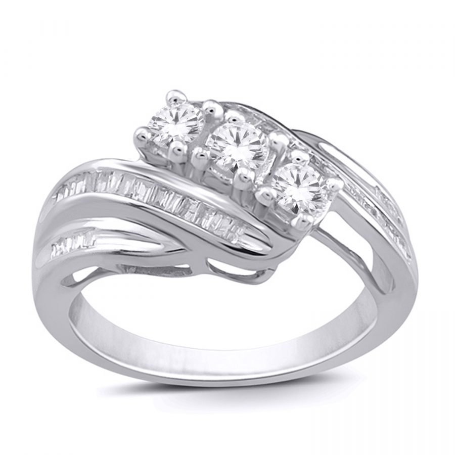 Ring - Band Three Stone 0.50 ctw diamonds in 14K white gold 2