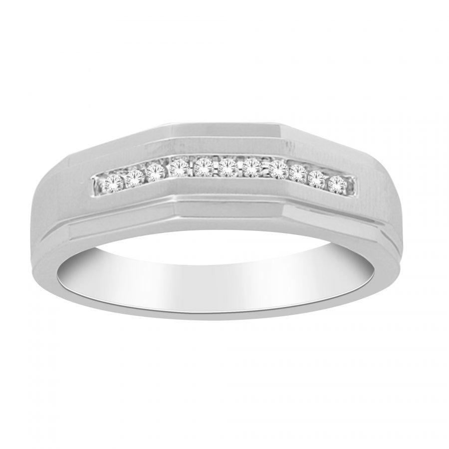 Ring - Bridal Mens Wedding Band 0.10 ctw diamonds in 14k white gold 2