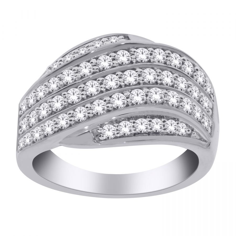 Ring - Band Multirow with 1.00 ctw White Diamonds in 14k White Gold 2
