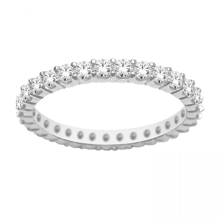 Ring - Band Eternity 1.00 ctw diamonds in 14k white gold 2
