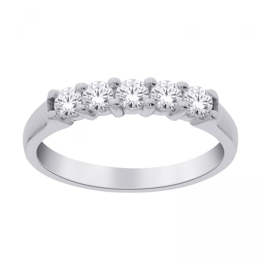 Ring - Band 5 Stone 1.00 ctw diamonds in 14k white gold 2