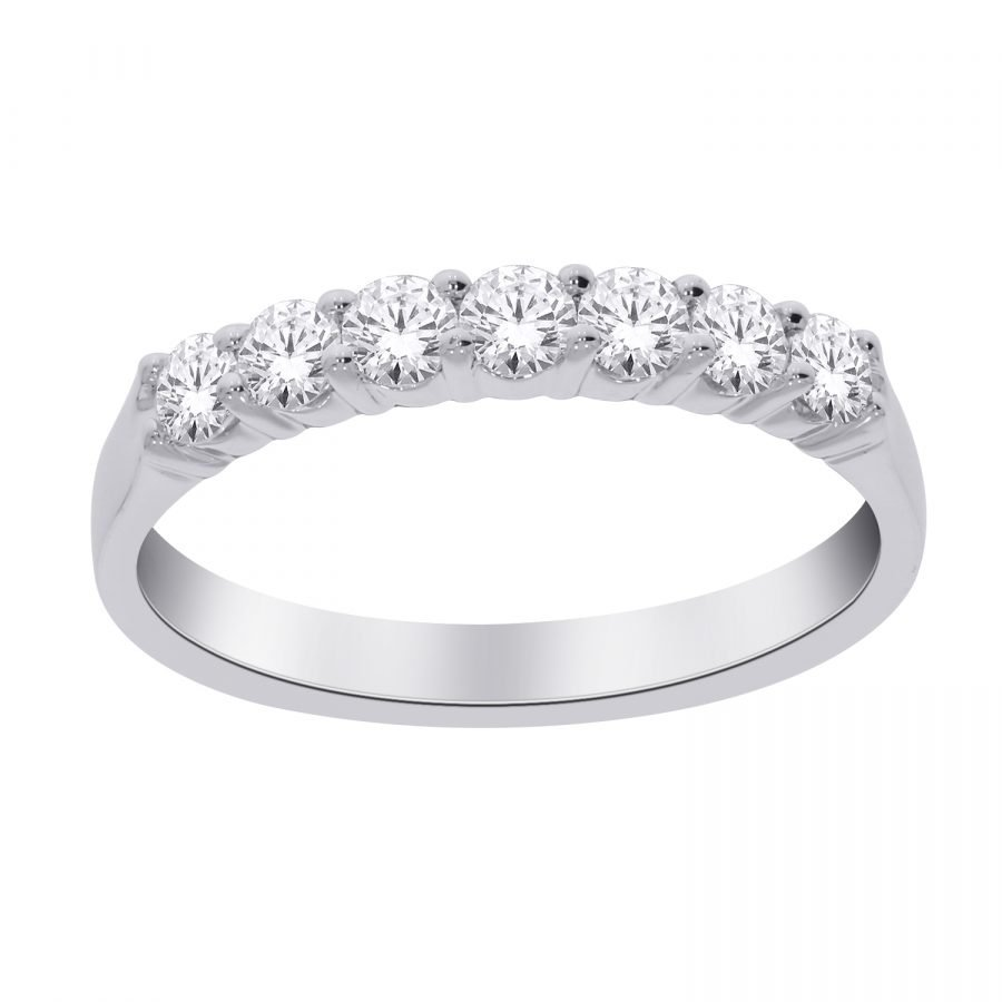 Ring - Band 7 Stone 0.75 ctw diamonds in 14k white gold 2