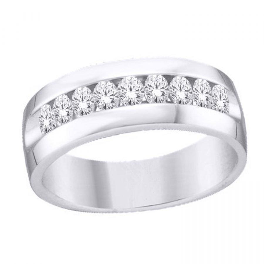 Ring - Bridal Mens Wedding Band Classic 9 Stone 0.75 ctw diamonds in 14k white gold 2