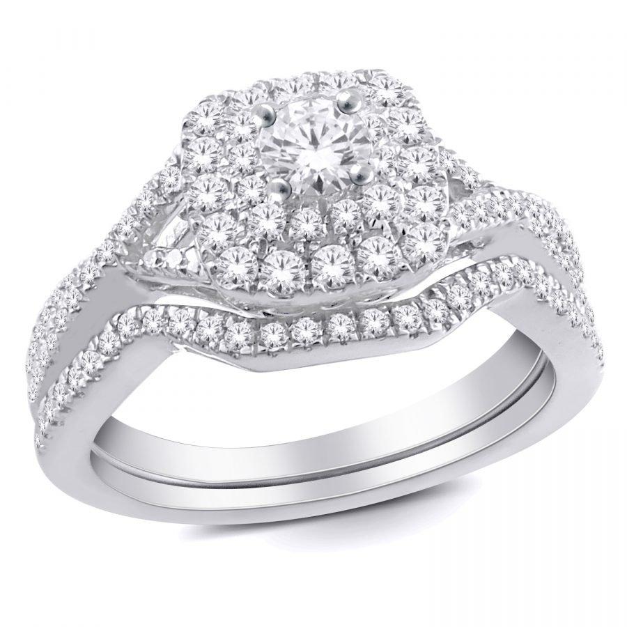 Ring - Bridal Set 0.60 ctw diamonds in 14K White Gold 2