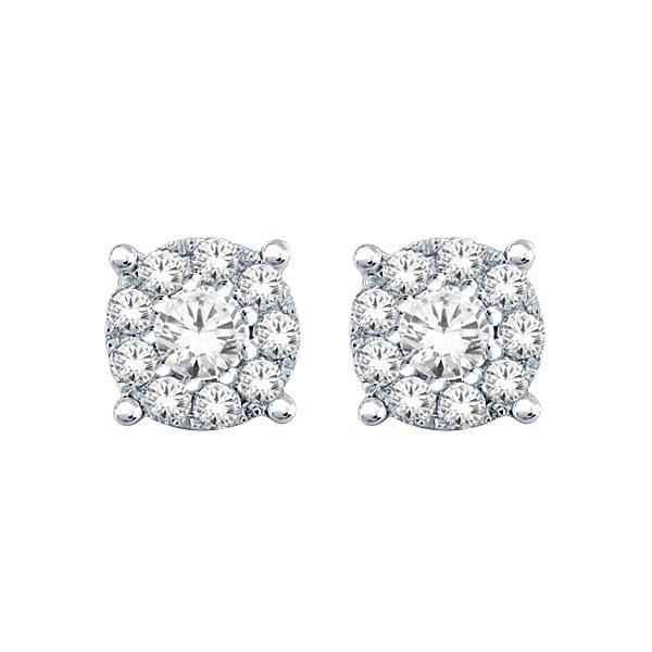 Earrings - Halo Diamond Studs 0.65 ctw in 14K White Gold 2