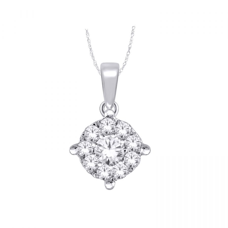 Pendant - Halo Round Solitaire 0.35 ctw in 14K Gold 2