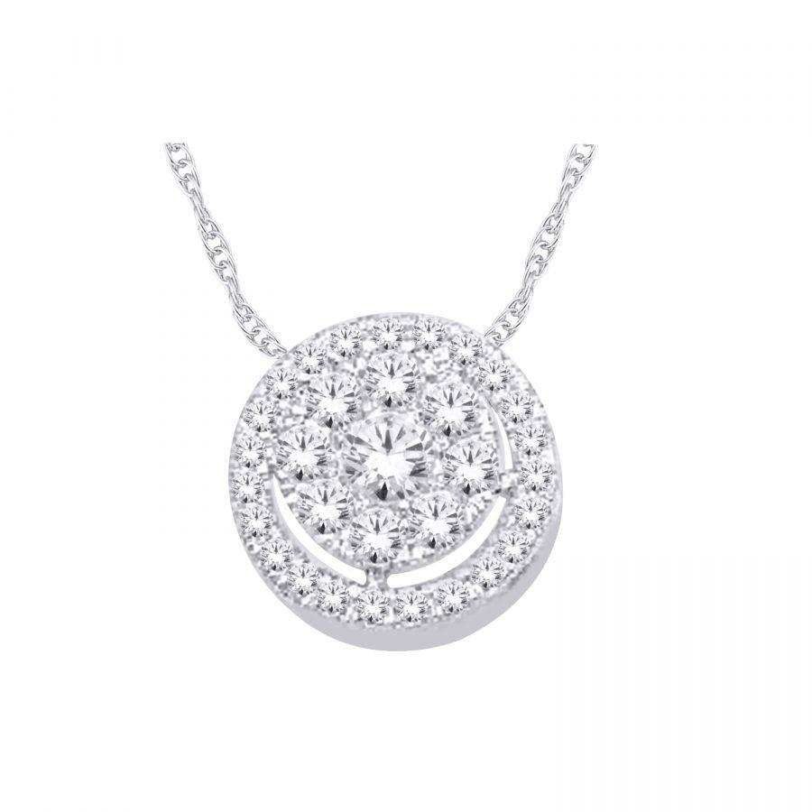 Pendant - Cluster of Diamonds 0.40 ctw in 14K White Gold 2