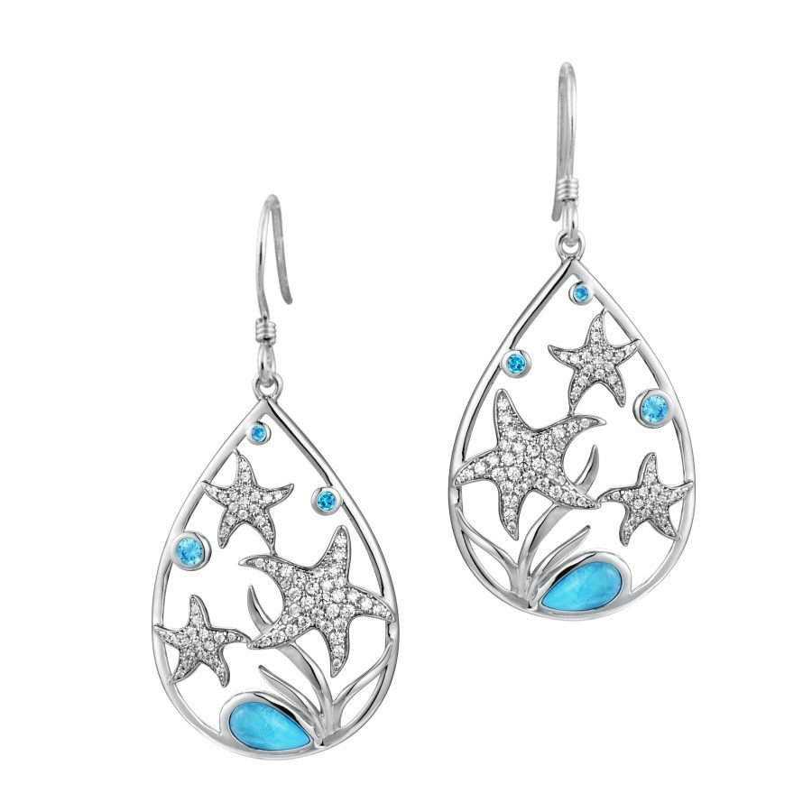 Earrings - Larimar Starfish 2
