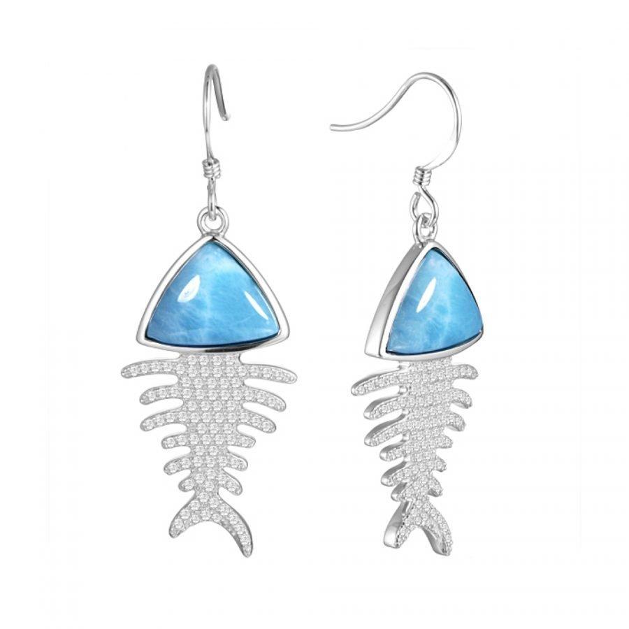 Earrings - Larimar Fish Bone 2