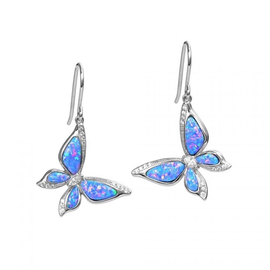 Earrings - Larimar Opal Butterfly 2