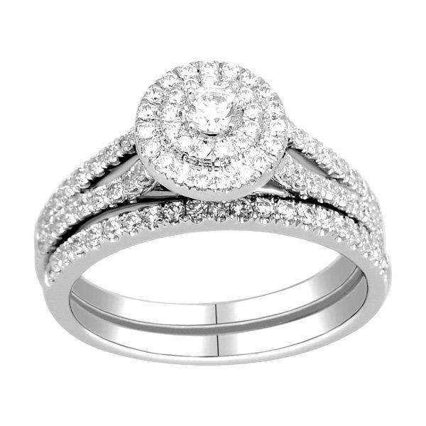 Ring - Bridal Set 0.90 ctw diamonds in 14k white gold 2