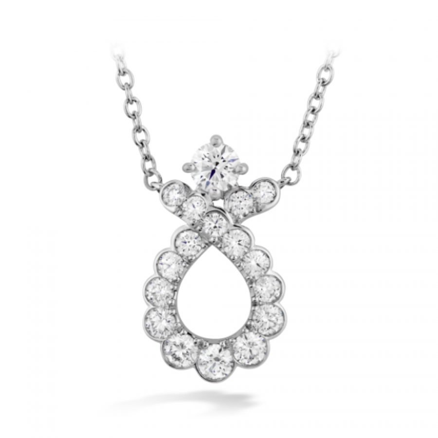 Pendant - Aerial Regal Scroll 0.44 ctw Hearts On Fire Diamonds in 18kt White Gold 2