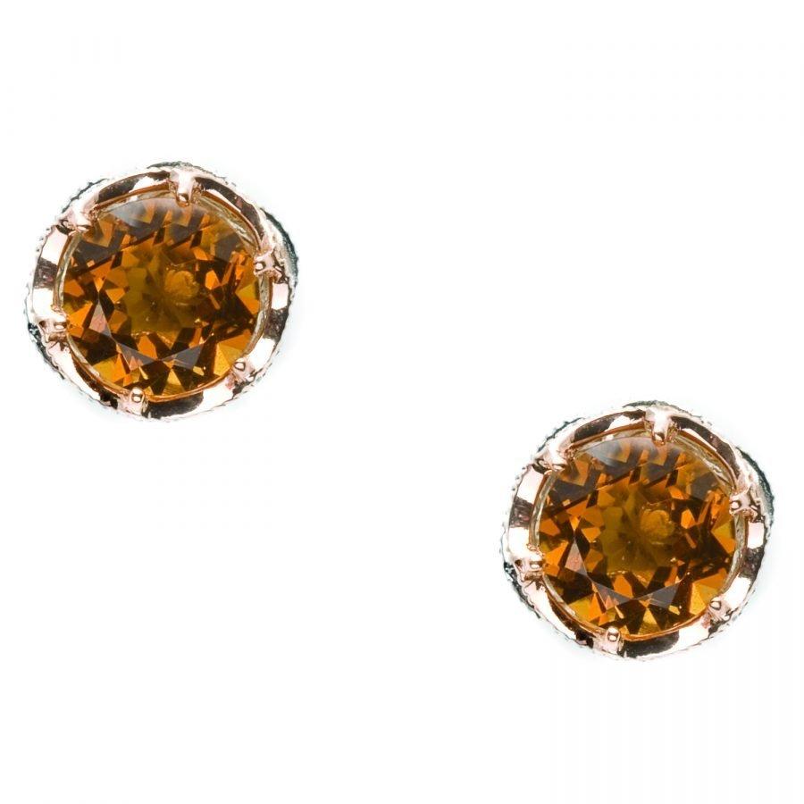 Earrings Studs - Tacori Cognac Quartz Round 2