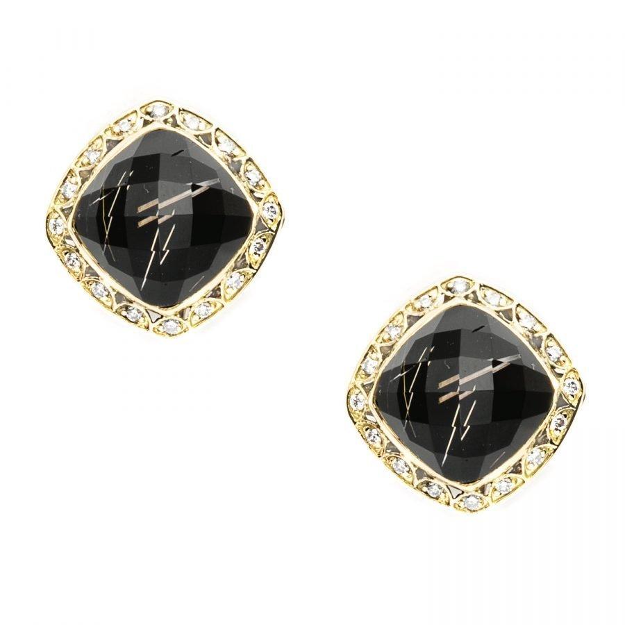 Earrings Studs - Tacori Rutilated Quartz & Black Onyx Diamond 2