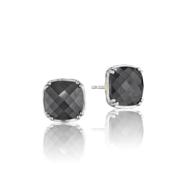 Earrings Studs - Cushion Cut Gem Stud featuring Hematite 2