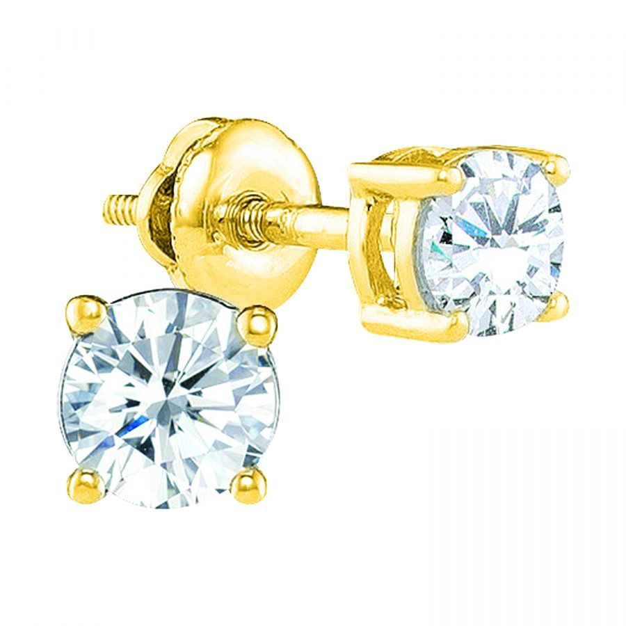 Earrings - Solitaire 4-Prong 0.25 ctw diamonds in 14K Yellow Gold 2