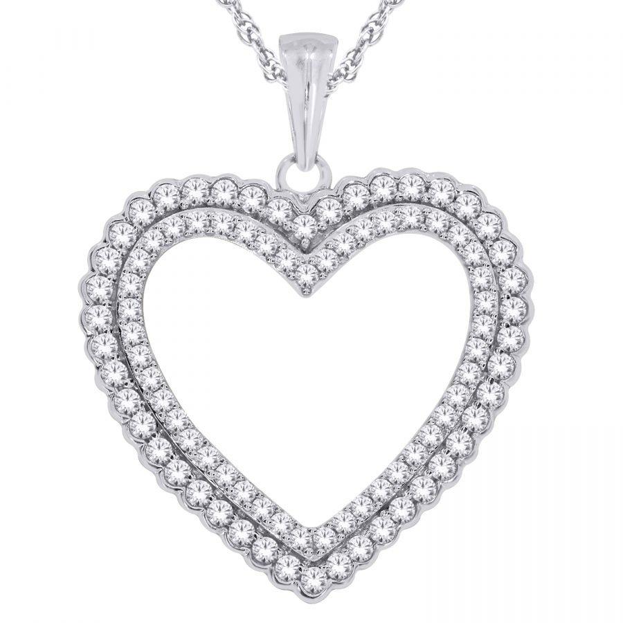 Pendant - Heart Double Row 1.00 ctw diamonds in 14K White Gold 2