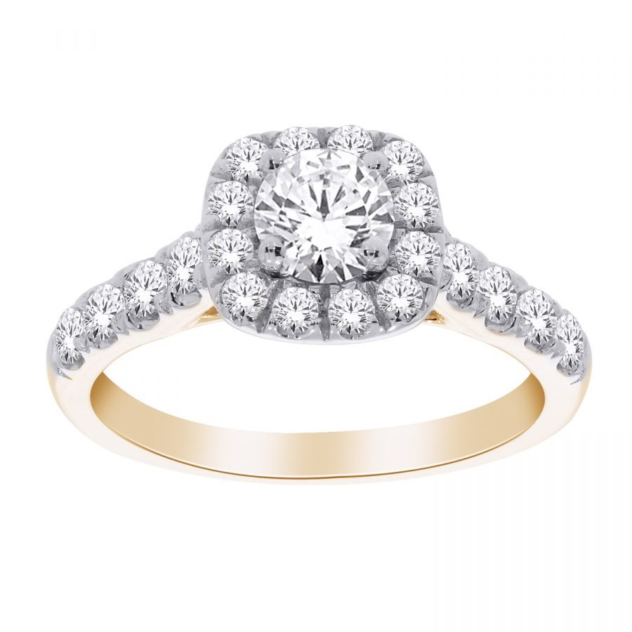 Ring - Halo Square 1.00 ctw diamonds in 14K Yellow Gold 2