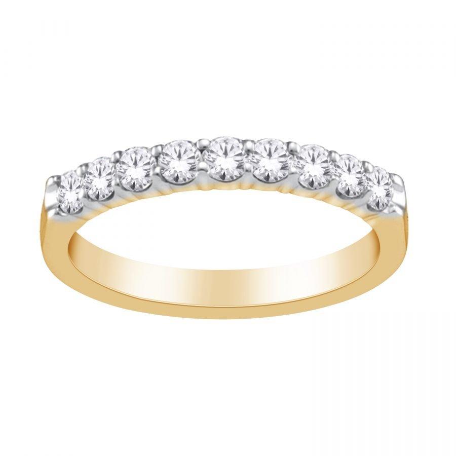 Ring - Band 9 Stone 0.25 ctw diamonds in 14k yellow gold 2