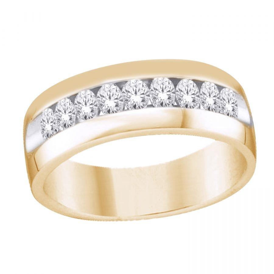 Ring - Bridal Mens Wedding Band Classic 9 Stone 0.50 ctw diamonds in 14k yellow gold 2