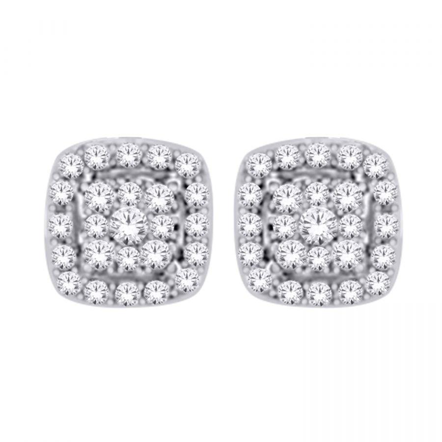 Earrings - Cluster Square 0.60 ctw diamonds in 14K White Gold 2
